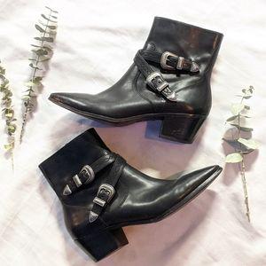 FRYE Ellen Double Buckl Black Leather Chelsea boot